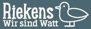 """Das Logo der Wattführer Rieken - der Schriftzug """"Riekens - Wir sind Watt"""" zusammen mit einer niedlichen Strichzeichnung einer Möwe"""